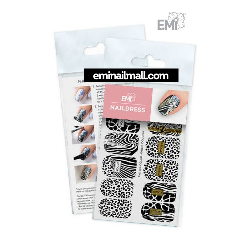[E.Mi] Naildress 슬라이더 디자인 스티커 #46 Zebra and Black Leopard